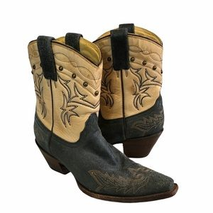 Corral Blue and Cream Leather Cowboy Boots 7.5M